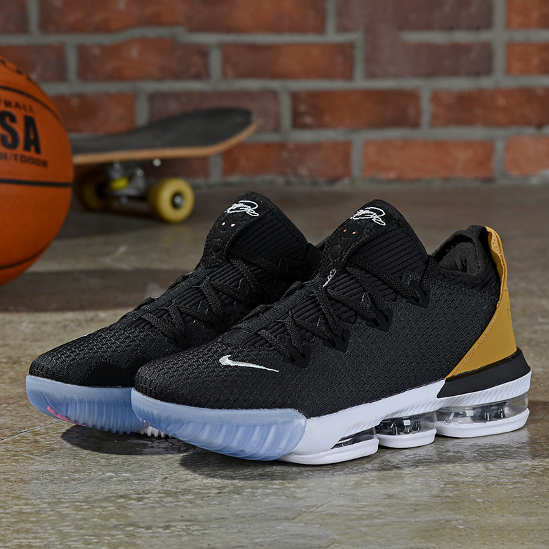 2019 Real Nike LeBron 16 Low Black Gold White