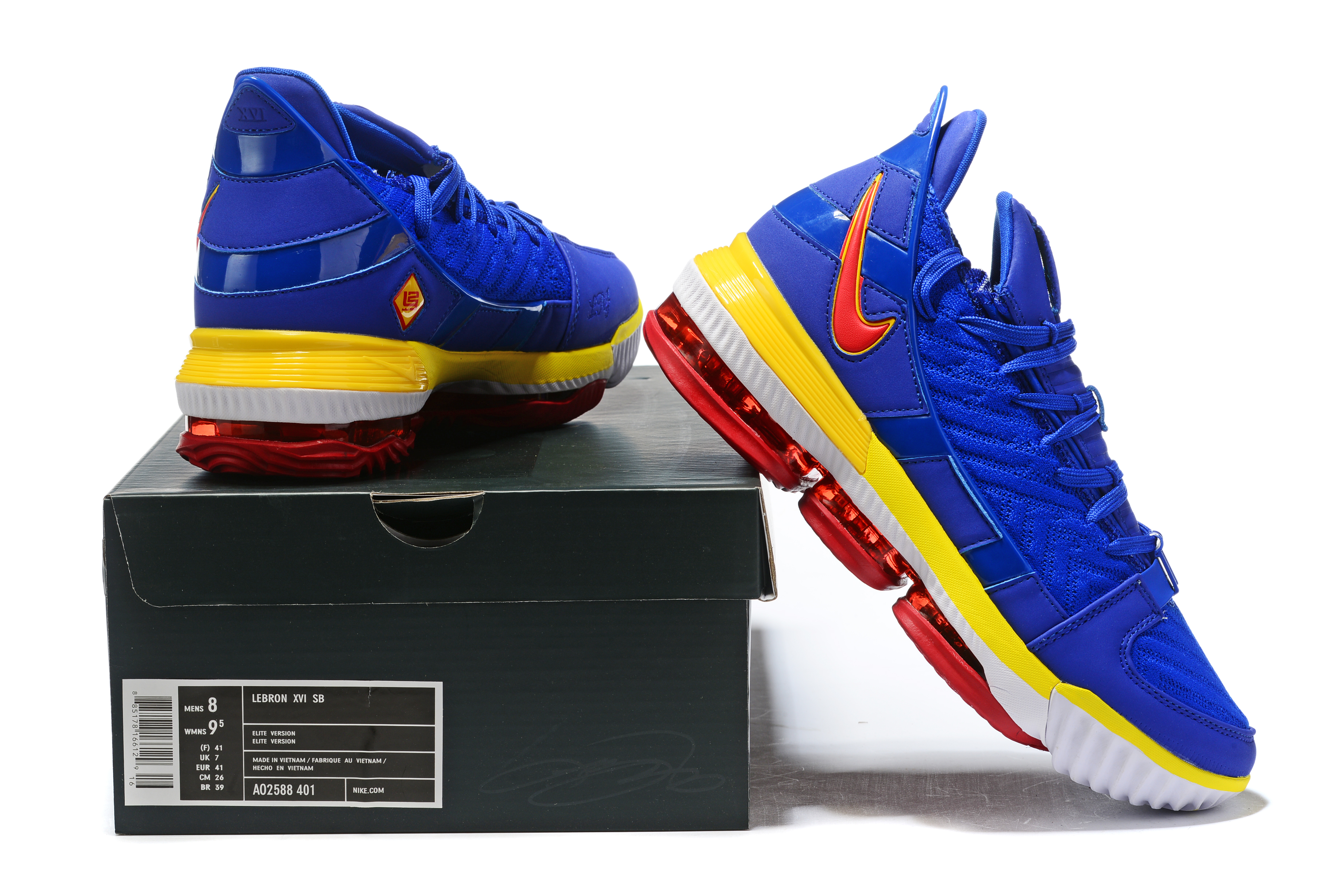 2019 Real Nike LeBron 16 Low Blue Yellow Red