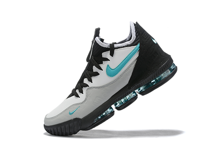 2019 Nike LeBron 16 Low White Grey Black Blue Basketball Shoes