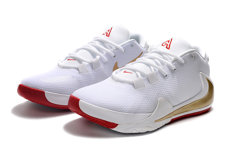 2019 Nike Zoom Freak 1 White Gold Red Basketball Shoes