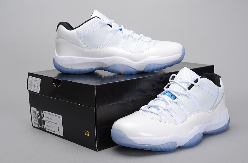 Cheap Real Jordan 11 Low 2015 Legend White Blue Shoes