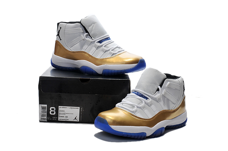 Cheap Real New Air Jordan 11 White Gold Blue Sole Shoes