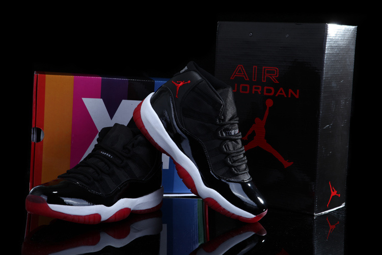 Air Jordan 11 Concord Black White Red Shoes with Rainbow Package