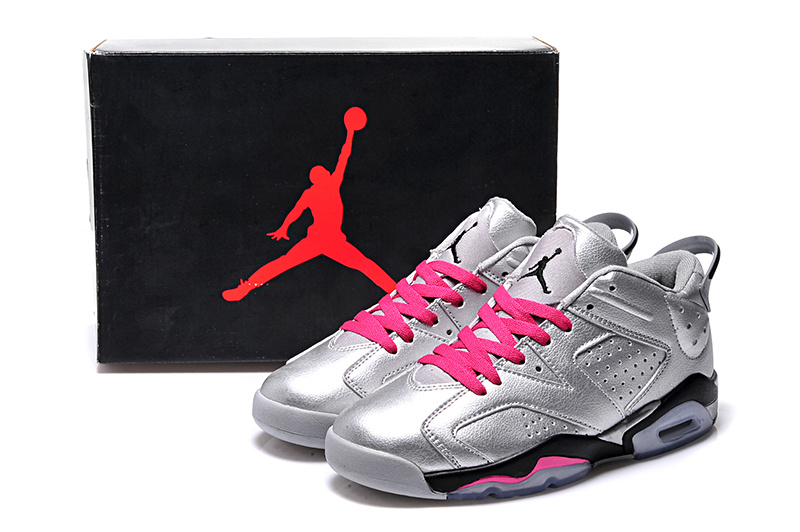 2015 Real Silver Pink Black Air Jordan 6 Low Lovers Shoes