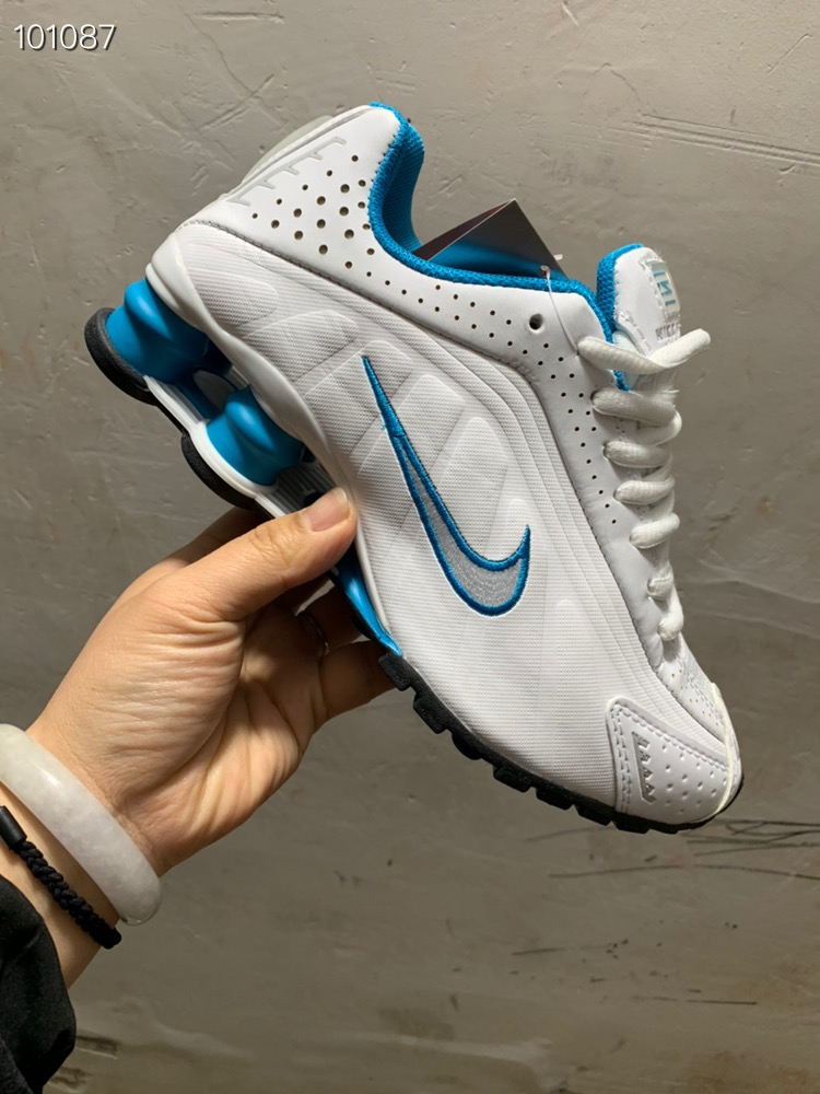 Women Nike Shox R4 White Blue Silver Shoes