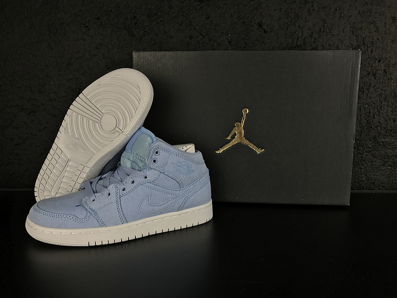 Women Air Jordan 1 Ice Blue Shoes - Click Image to Close