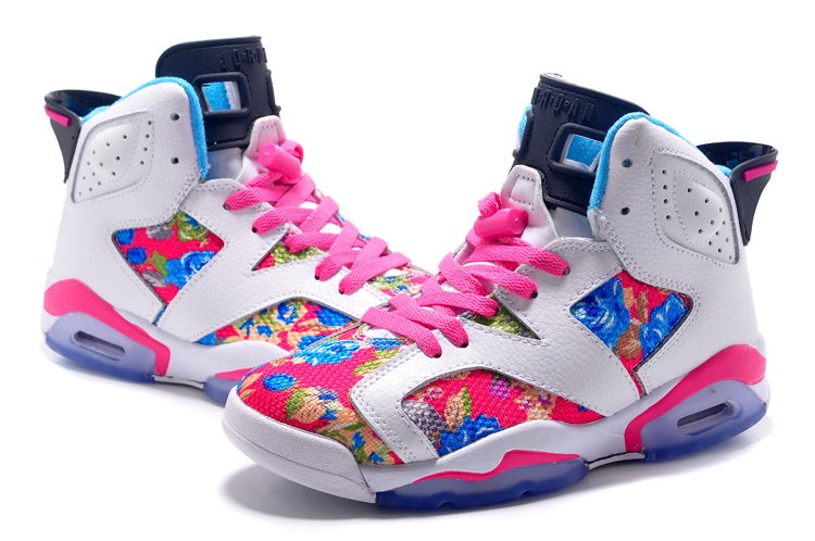 Women Air Jordan 6 Pink Colorful Basketball Shoes