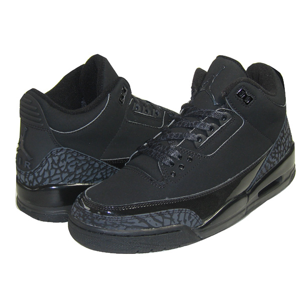 Original Jordan 3 All Black Cat Charcoal Shoes
