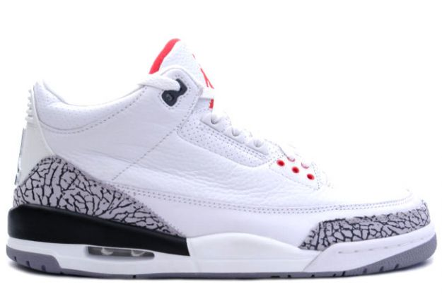 Original Jordan 3 White Cement Grey Fire Red Shoes