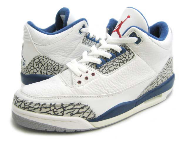 Original Jordan 3 White True Blue Shoes