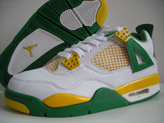 cheap authentic jordan 4 white green yellow shoes