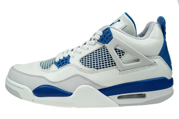 cheap authentic jordan 4 white military blue neutral grey shoes