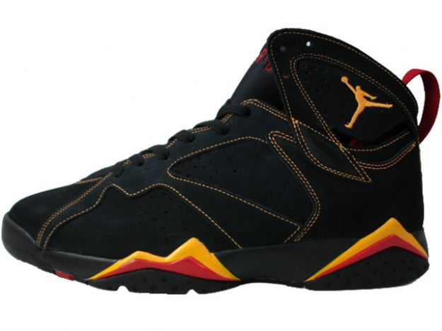 air jordan 7 retro black citrus varsity red shoes